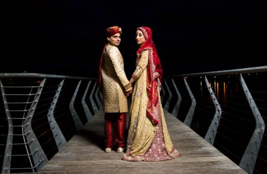 Night time images by Leitrim wedding photographer Shutter Fever Weddings of a traditional Pakistani bride and groom on the shores of the River Shannon in Carrick-on-Shannon having gotten married earlier this afternoon at The Landmark Hotel, Carrick-on-Shannon.